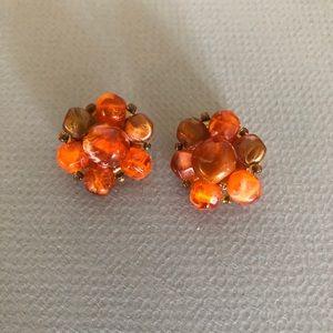 Lisner vintage resin clip earrings orange